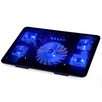 Free Shipping USB Laptop Cooler Blue LED 5 Fans 2 USB Port Stand Pad For Laptop