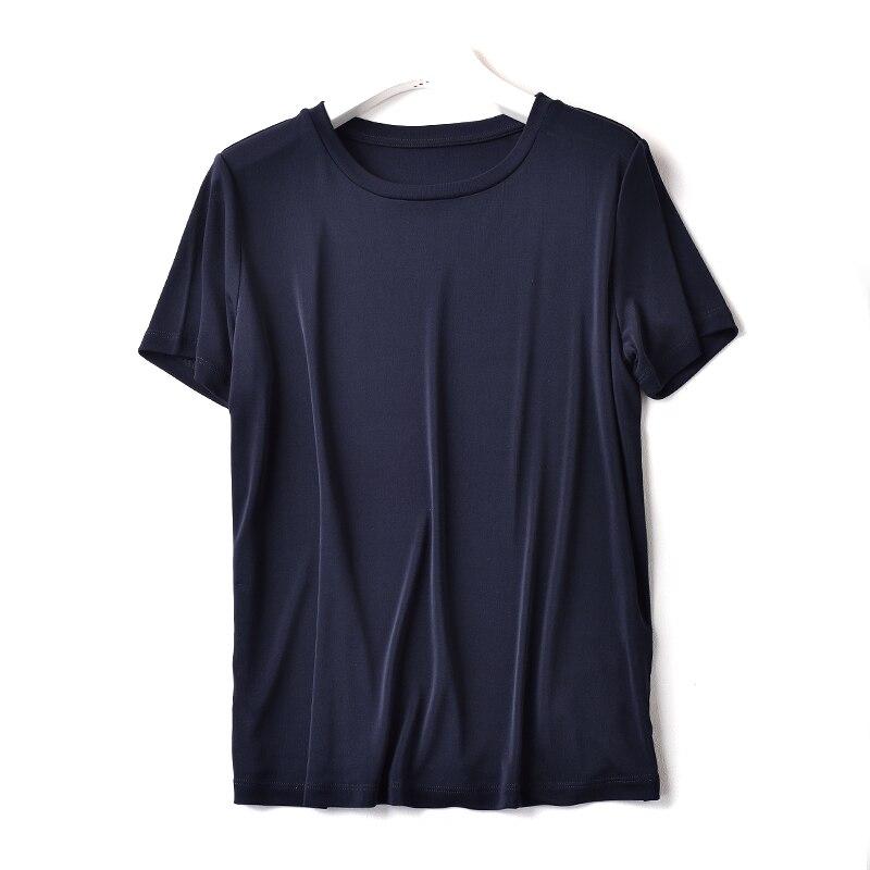 marine Torsion T shirt Femelle Col Manches Bleu Soie Tricoté Rond Noir De Lourd Courtes Gamme 180g Soie Pure Haut gxqfTx4wd