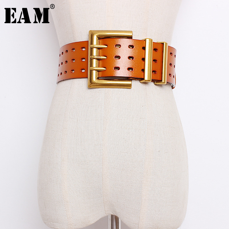 [EAM] 2019 New Spring Summer Long Black Pu Leather Loose Buckle Hollow Out Belt Women Fashion Tide All-match JI276