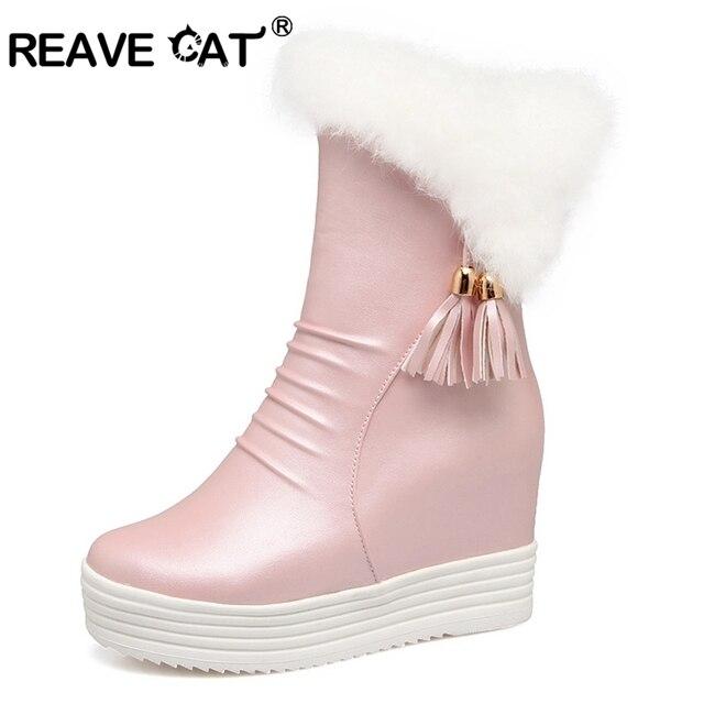 REAVE GATO Mid-calf botas Cunhas Borla Sapatos de Plataforma mulheres Borla Plissado Faux pele de Coelho botas Quentes da Neve do Inverno zipper A017