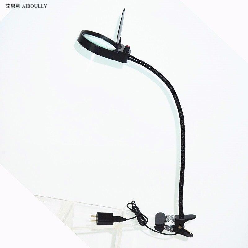 folder desktop magnifying glass with lights 10 times the LED lights for the elderly to identify electronic maintenance desk lamp  цены