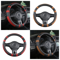 Dewtreetali For Ford Focus 2 VW Chevrolet Nissan 38cm Leather Car Steering Wheel Cover Steering wheel Protector Car styling