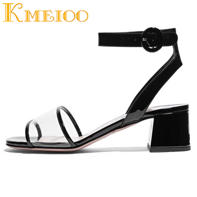 Kmeioo 2018 Hot Sale Fashion Women Shoes Transparent Sandals Clear Perspex Block Heels Peep Toe Ankle Strap For Casual Dress