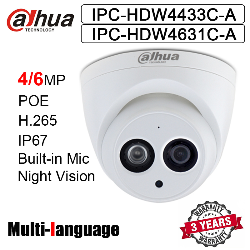 4MP 6MP POE IP Camera IPC HDW4433C A IPC HDW4631C A IR 30m Built in Mic H.265 Network Camera HDW4433C A HDW4631C A Web Camera-in Surveillance Cameras from Security & Protection