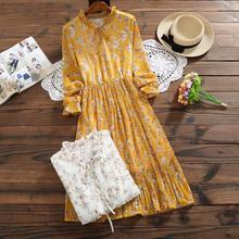 Mori Girl Sweet Dress 2018 New Spring Korean Fashion Women Floral Print Long Chiffon Dresses Female Long Sleeve Pleated Vestidos