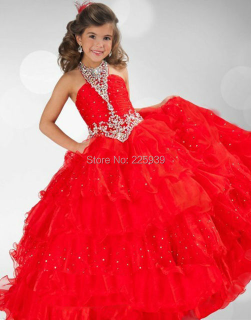 92d3f70799 Beautiful Halter Heavy Beaded Sparkly Sequins Layered Ball Gowns Red Tulle  Flower Girl Dresses Pageant Fashion For Wedding Party