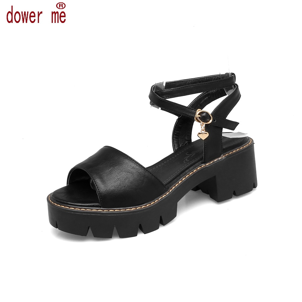 New 2017 Spring&Summer Sandals Shoes Woman Buckle Sandals Women Pu Leather Open Toe Gladiator Square Heel Shoes Zapatos Mujer 2014 spring and summer new elegant gold buckle leather shoes women shoes carrefour