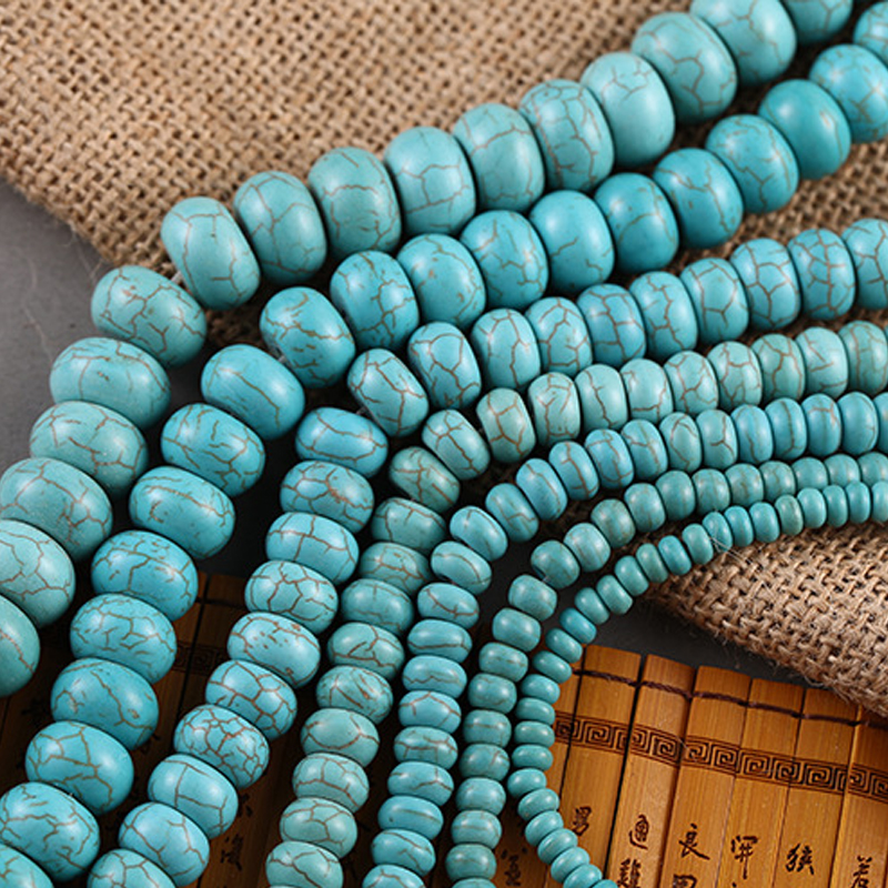 Natrual Blue Stone Turquoises Abacus Spacer Beads Round shape Loose  15 Strand 6/8/10MM DIY Charm Jewelry Making