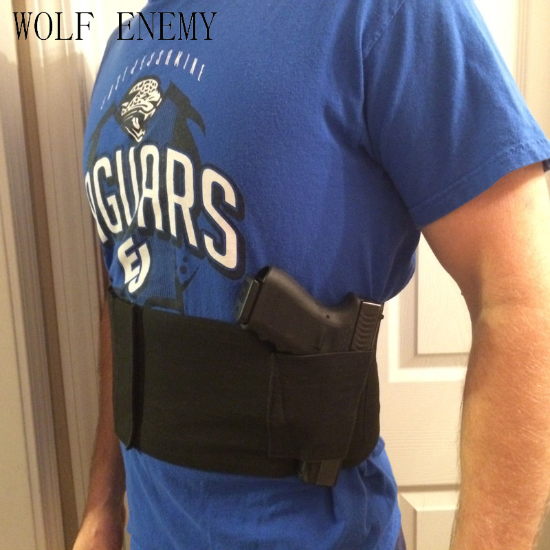 Slim Wrap Dold Carry Belly Wrap Holster Mage Gun Holster Abdominal Band Pistol Holster With 2 Magazine Pouches