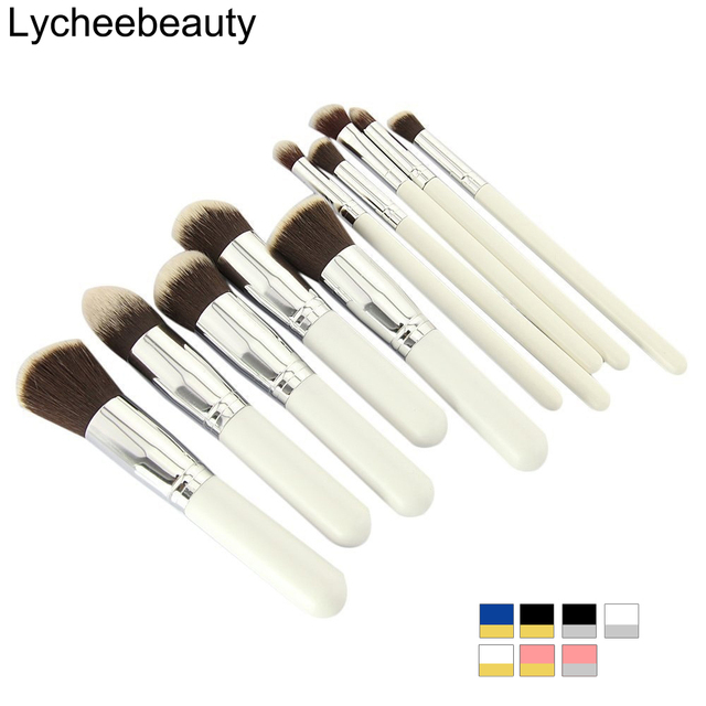 10 pcs Maquiagem Profissional Jogo de Escova Maquiagem Beleza Fundação Sombra Em Pó Cosméticos Make Up Brushes Kabuki Brush Tool