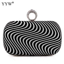 Black Zebra Evening Clutch Bag Finger Ring Women Bags Rhinestone Wedding Striped Handbags Bridal Metal Mini Clutches Chain