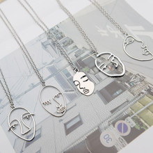 Gold/Silver Chain Trendy Temperament Abstract Human Face Pendant Necklace Hollow Facial Contour Long Necklace Avatar Aaszyjnik(China)