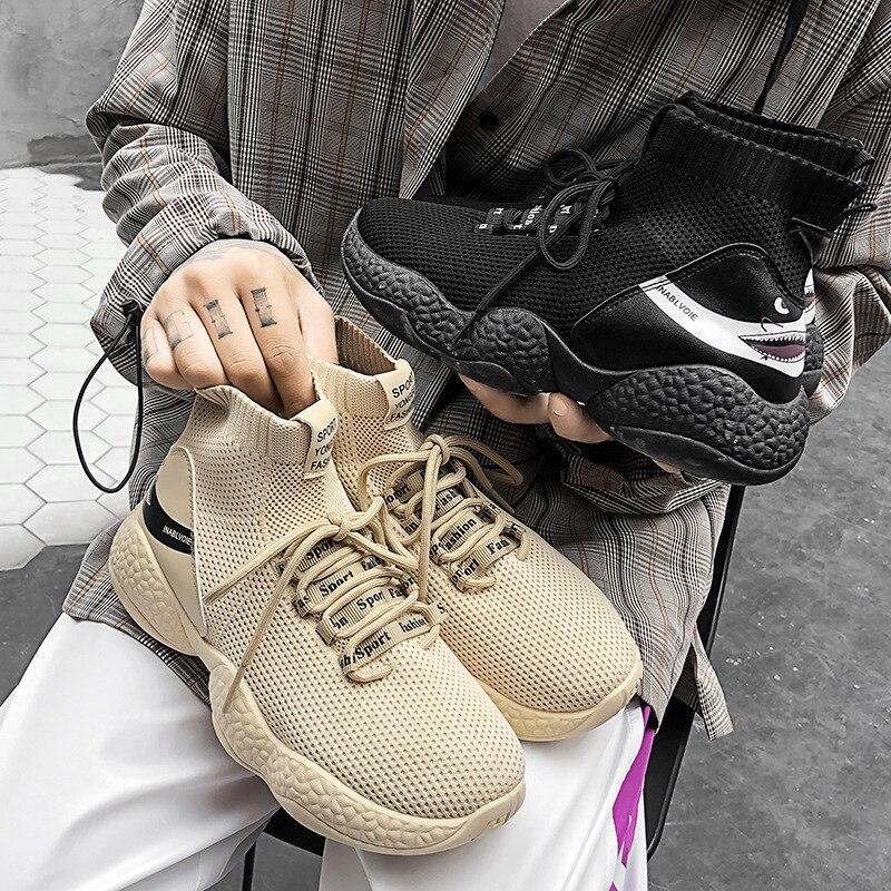 Printemps nouveau léger volant tissé chaussures pour hommes respirant décontracté augmenter chaussettes chaussures de fonctionnement élevés chaussures