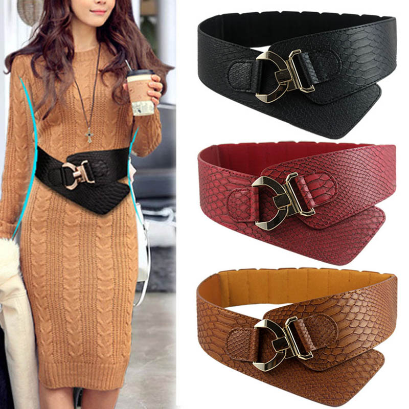 Fashion Woman Waist   Belt   PU Leather Snakeskin Pattern Oblique Elastic Personality Ladies Girls Super Wide   Belts   NYZ Shop