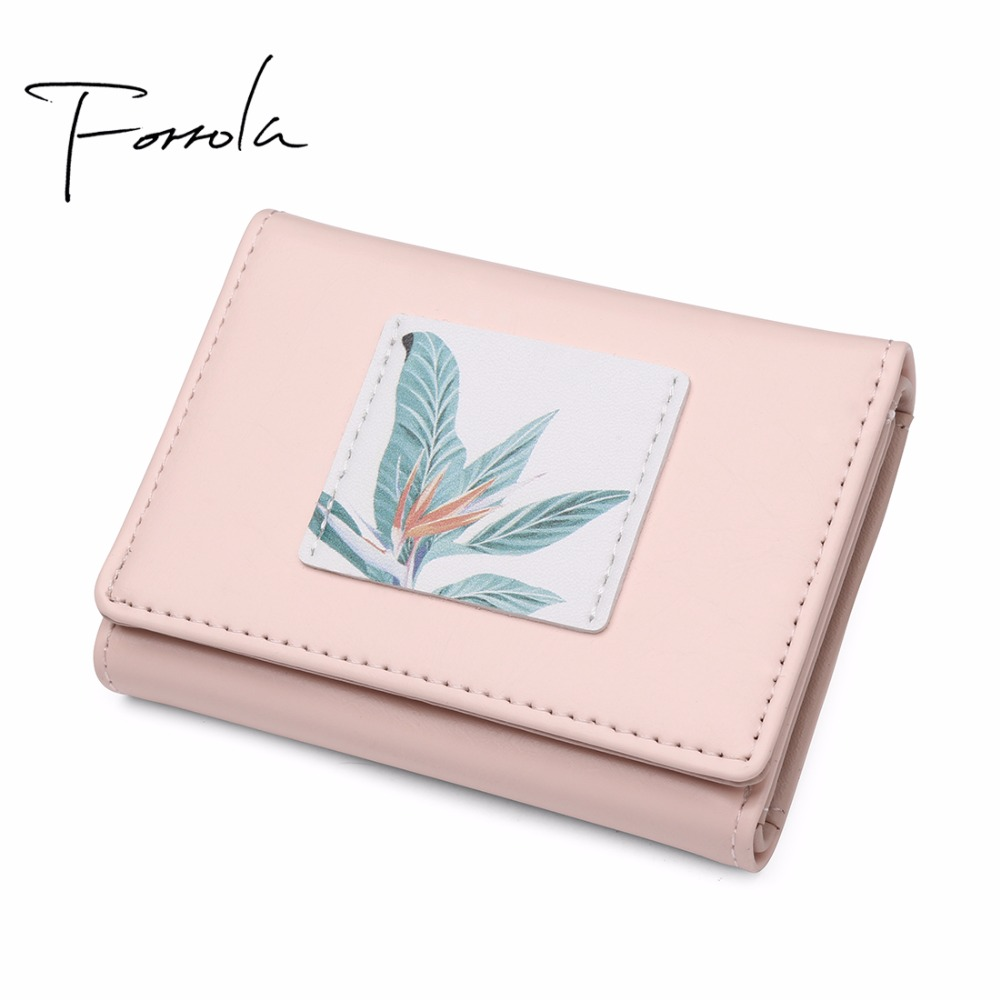Women Design Painting Leather Tri-fold Wallet Fashion Lady Portable Small Change Purse Hot Female Carteras Money Card Holders 2017 brand lovely leather long women wallet girls change clasp purse female money coin card holders lady clutch wallets carteras