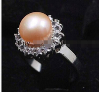 Noblest Silver Pink akoya pear ring size 7 8 9 AAA
