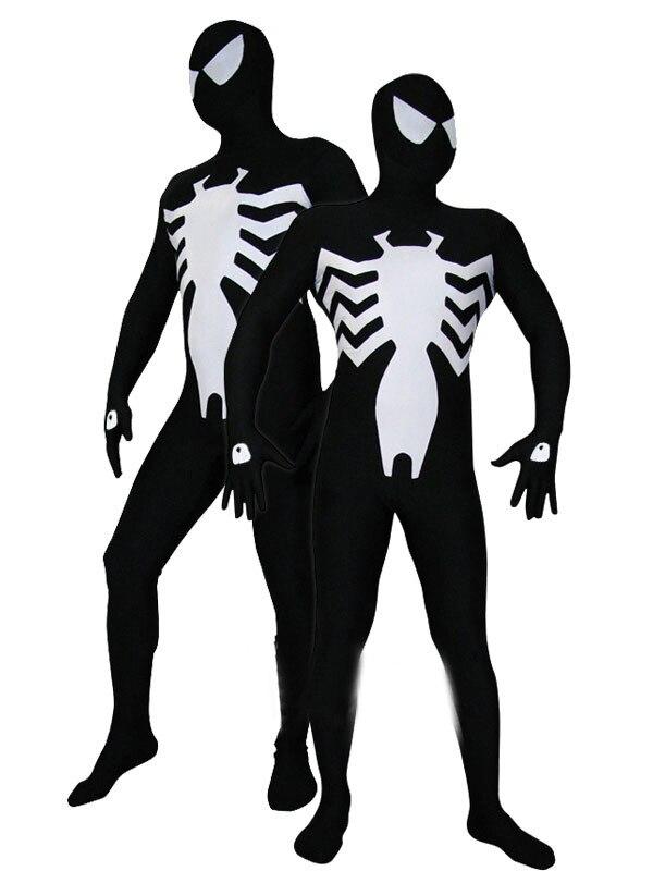 Black & white spandex Vemon Symbiote Spider-Man Costume  Spiderman Halloween costume