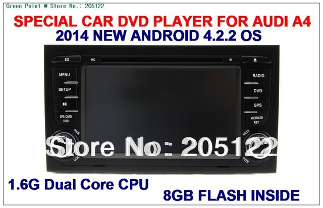 2014 New Android 4.2.2 A9 1.6G  Dual Core  Capacitive Screen Car DVD player for AUDI A4/S4/RS4 2002-2008 With 8GB Flash Inside