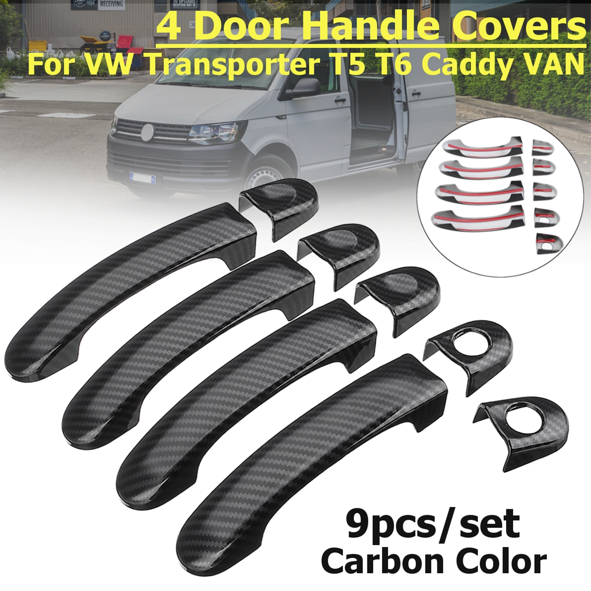 For VW T5 T5.1 T6 Transporter Gloss Black 3 Door Handle Covers Keyhole Caddy