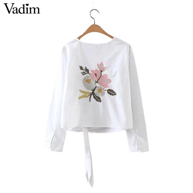 Женщины вернуться сладкий цветочный вышивка блузка подол лук О-Образным Вырезом с длинным рукавом дамы повседневная марка топы blusas LT1257