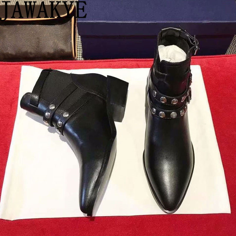 Chelsea booties female rivets studded leather buckled strap Martin boots pointed toe autumn winter shoes ankle boots for women Chelsea booties female rivets studded leather buckled strap Martin boots pointed toe autumn winter shoes ankle boots for women