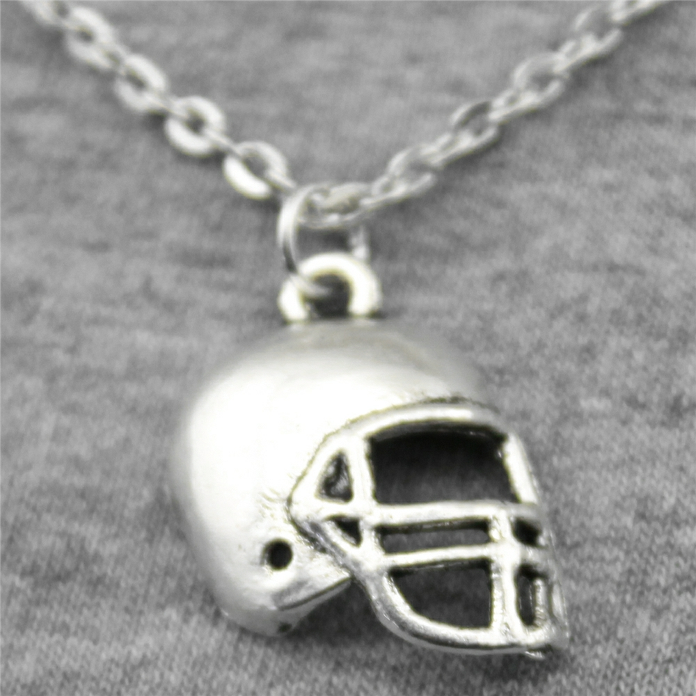 Wholesale 30pcs Antique Silver Color 20*15mm Football Helmets Pendant Metal Chain Necklace, Fashion Necklace Jewelry For Women