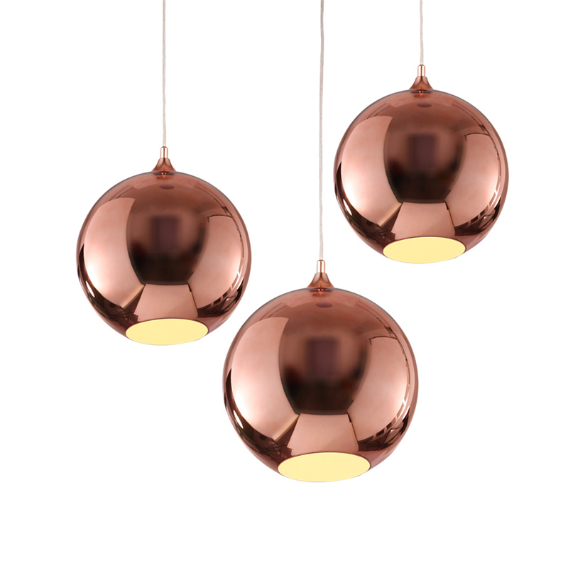 chandelier gold Copper Sliver Shade Mirror Chandelier Light E27 Bulb LED Pendant Lamp Modern Christmas Glass Ball Lighting