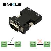 Amkle HDMI Female To Male VGA Converter Audio Adapter Support 1080P Signal Output For Computer Laptop