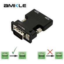 Amkle HDMI to VGA Adapter Converter HDMI Female to VGA Male Audio Cable Video Converter 1080P for PC Laptop TV Monitor Projector