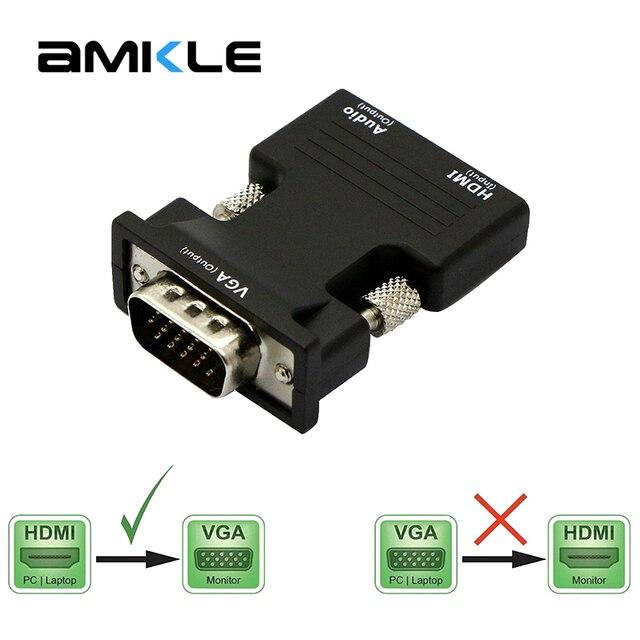 Amkle hdmi vgaアダプタコンバータhdmiメスのvgaオーディオケーブルビデオコンバータ 1080 用pcのラップトップテレビモニタープロジェクター