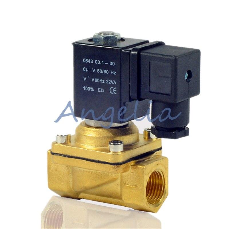 1/2 1 bspp Messing Elektrische Magnetventil Schalter Wasser Luft In Der Regel Geschlossen Wasserdicht Dc24v/12 V G3/8 3/4 Ac220v/110 V