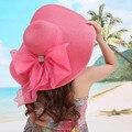 2017 Señoras Del Verano de Ala Ancha de Paja Sombreros Para Mujer Playa Encabezamiento Large Floppy Sun Caps sombreros Sexy Nueva Primavera de la Marca Praia