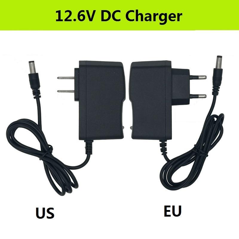 12.6V DC 2A Battery Charger Intelligent Lithium Li-on Power Adapter EU//US Plug