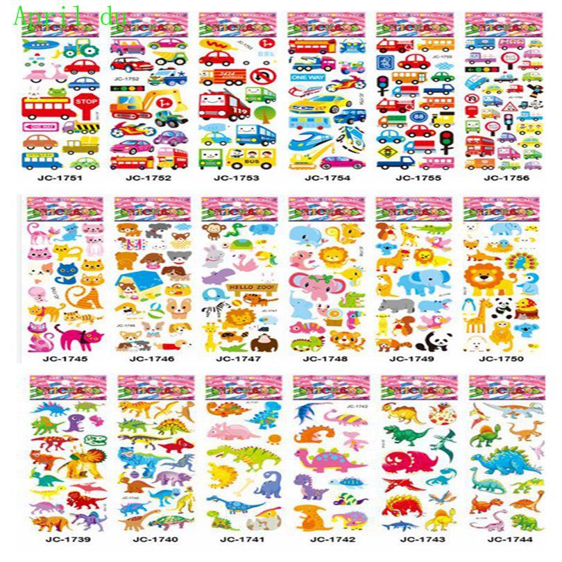 April Du 5pcs/lot  Fashion Brand Kids Toys Cartoon 3D Stickers Children Girls Boys PVC Stickers Bubble Sticker