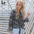 Hui Lin Casual Long-sleeved Chiffon Shirt Tops Crops For Summer High Quality Women Blouse 2016 Fashion