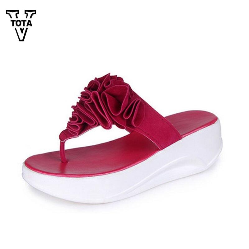 VTOTA Fashion Summer Shoes Woman Women Flip Flops Flower Sandals Beach Slippers Wedges Casual Slippers Women Platform Shoes Q77 2016 summer women flip flops platform wedges women sandals platform flip slippers beach shoes