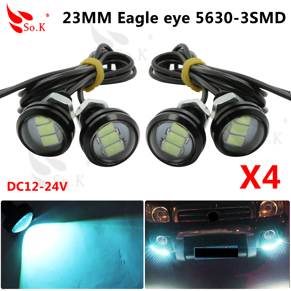 4X New Car Motorcycle High Power 9W LED Eagle Eye Backup Light DRL daytime Running Lamp Black and silver