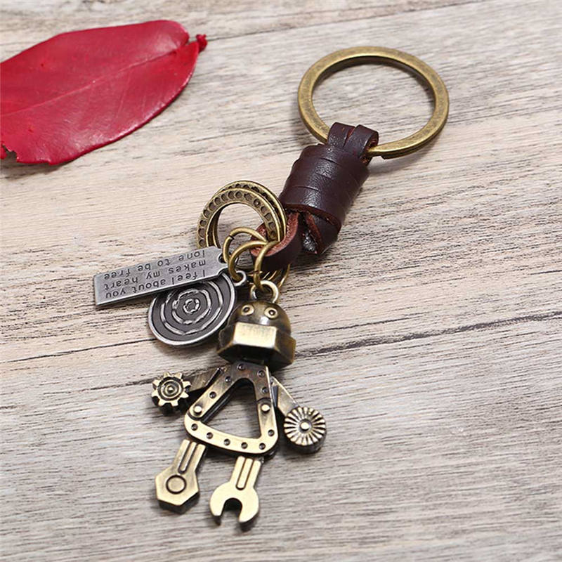 New Mode Style Vintage Men Women Cute Robot Keychain Copper Alloy Genuine Leather Key Chains Hand Made Bag charm Holder Gifts