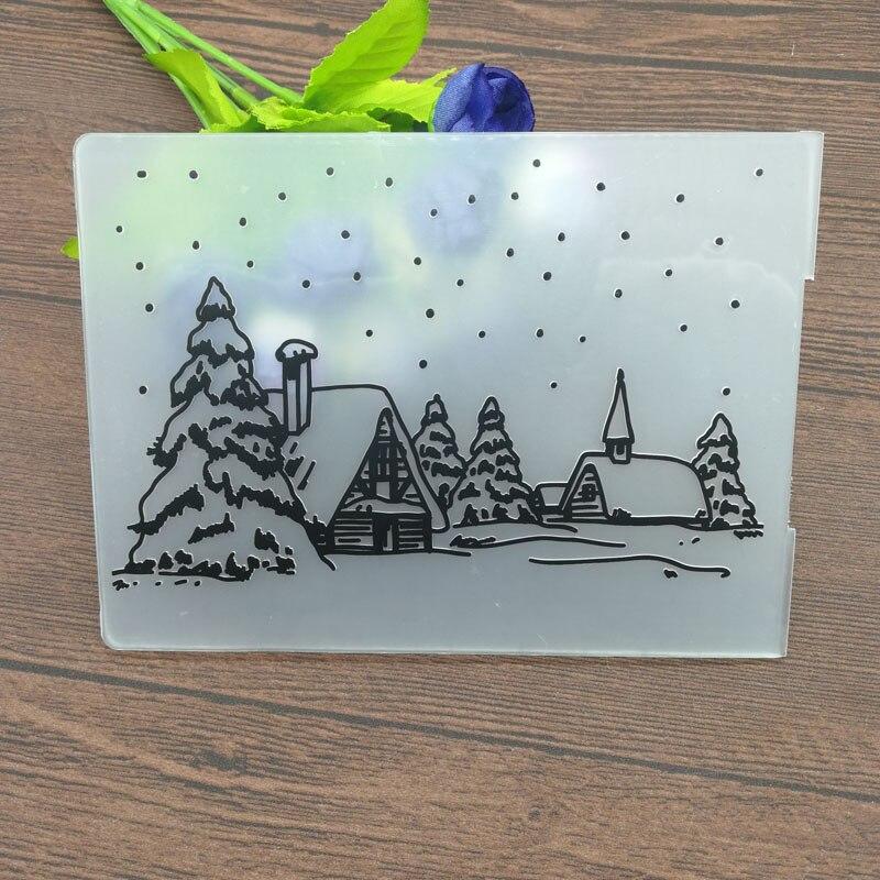 Christmas Embossing Folder DIY Card Papercraft Scrapbooking Decor Template Diary