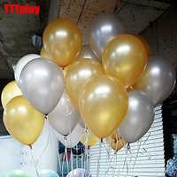 10 unids/lote de globos de helio de látex dorados y negros de 10 pulgadas, globos de cumpleaños para bodas, adornos fiestas de Baby Shower, juguetes para niños, globos de aire