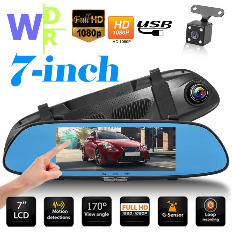 VODOOL 7Inch HD 1080P Rearview Mirror Car DVR Dash Camera Dual Lens Touch Screen Night Vision Video Recorder Camera with 4 LEDVODOOL 7Inch HD 1080P Rearview Mirror Car DVR Dash Camera Dual Lens Touch Screen Night Vision Video Recorder Camera with 4 LED