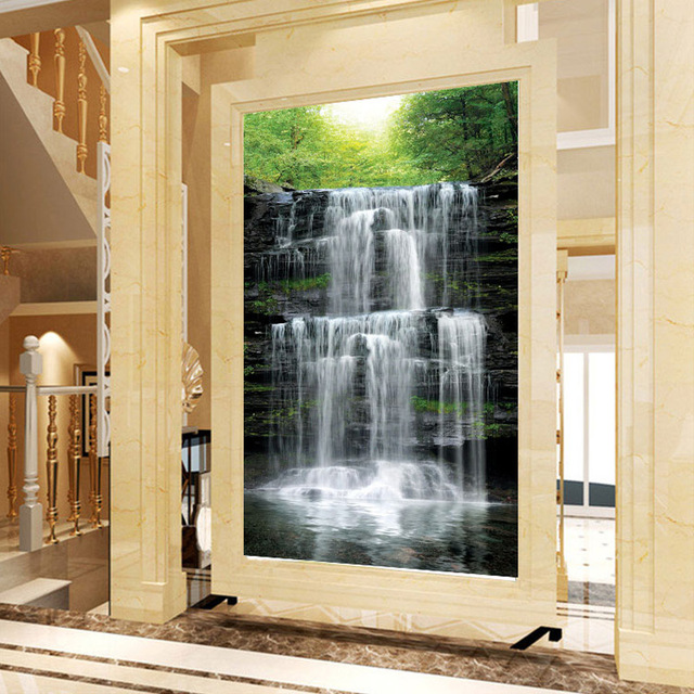 Custom Mural Wallpaper Landscape Natural Waterfalls Wall Mural Straw Non-woven Wall Paper Living Room Entrance Wall Room Decor 4