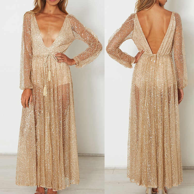 acd0560c8daab Women Glitter V Neck Formal Dress Wedding Bridesmaid Slit Maxi Evening Ball  Gown