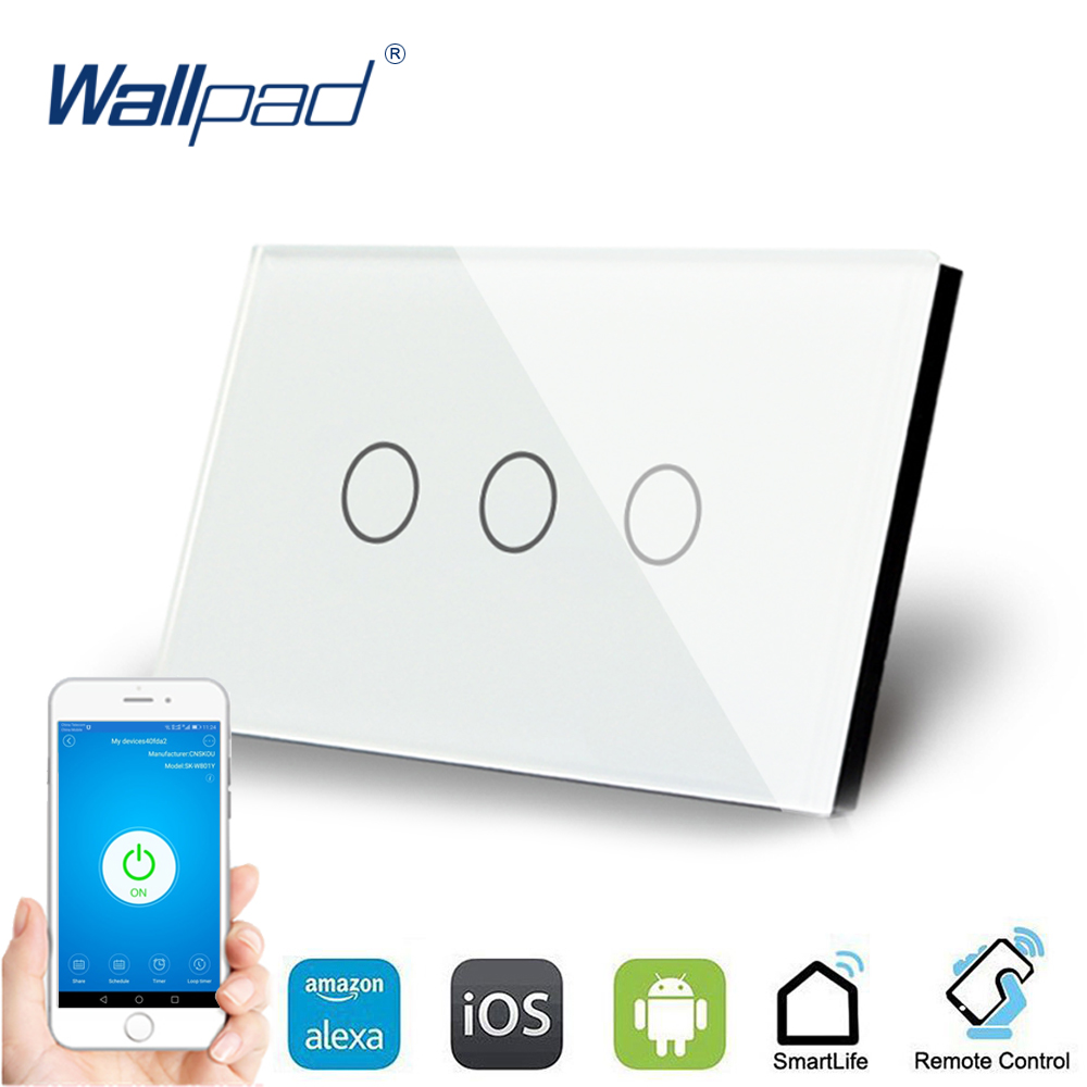 AU US 3 Gang WIFI Control Touch Switch Wallpad Support Phone App Alexa Google home IOS Android 3 Gang AU WIFI Wall Switch Panel qiachip wifi smart home switch 3 gang waterproof touch panel app remote control amazon alexa google home for ios android ds25