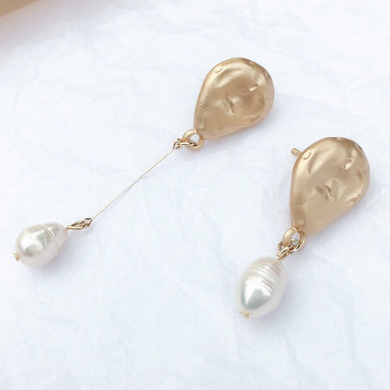 SRCOI S925 Sterling Silver Pin Matte Gold Freshwater Pearl Earrings Geometric Waterdrop Asymmetric Long Dangle For Women Girls