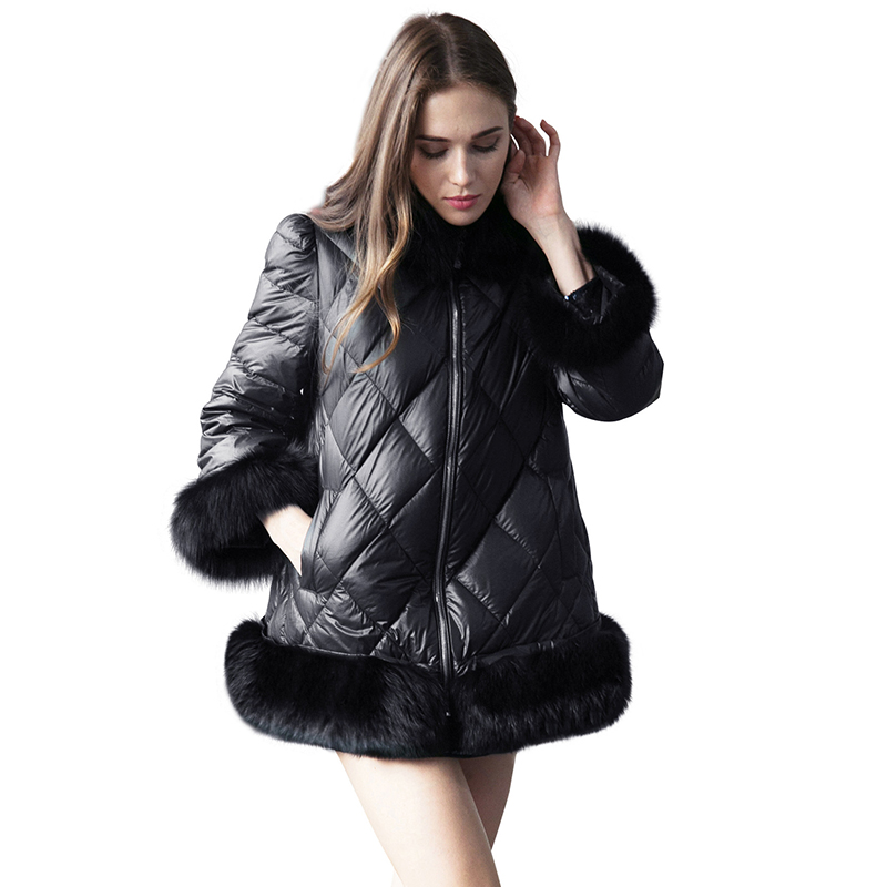 Fashion Black Faux Fur Leather Parka Down Coat Women Winter Fur Collar Loose Jacket Outerwear Plus Size Cotton Warm Overcoat