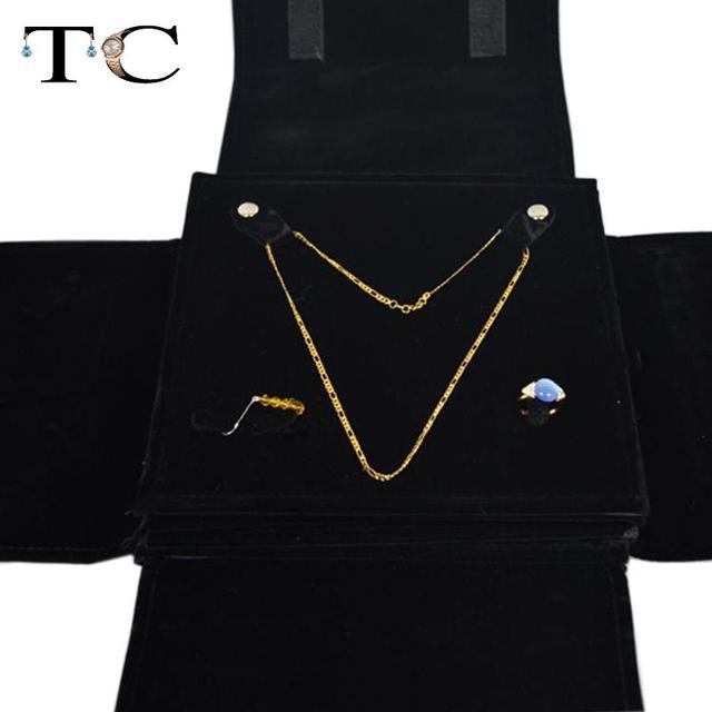 Diamond Wedding Jewelry Storage Case Black Velvet 5 layers Fine