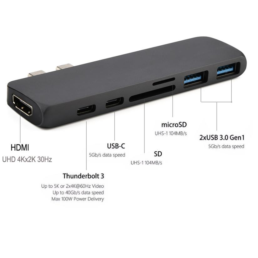 2018 Portable Type-C USB-C Hub Adapter Dual USB 3.0 Polt With HDMI For MacBook Pro Dropshipping Mar 30
