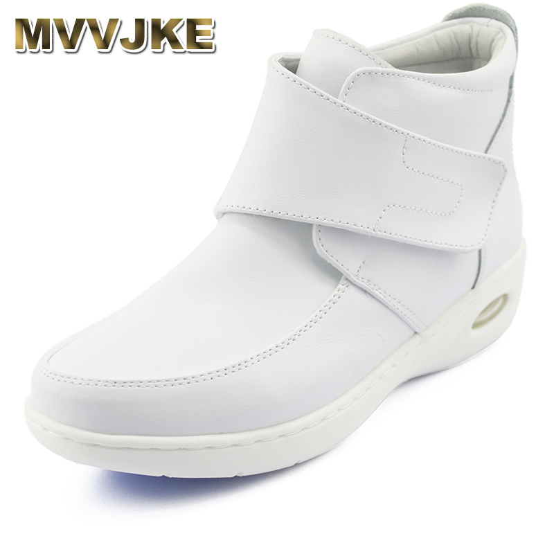 MVVJKE New winter Woman Pure white Nurse shoes women Platform Air cushion buckle strap casual Antiskid mar boots shoes image