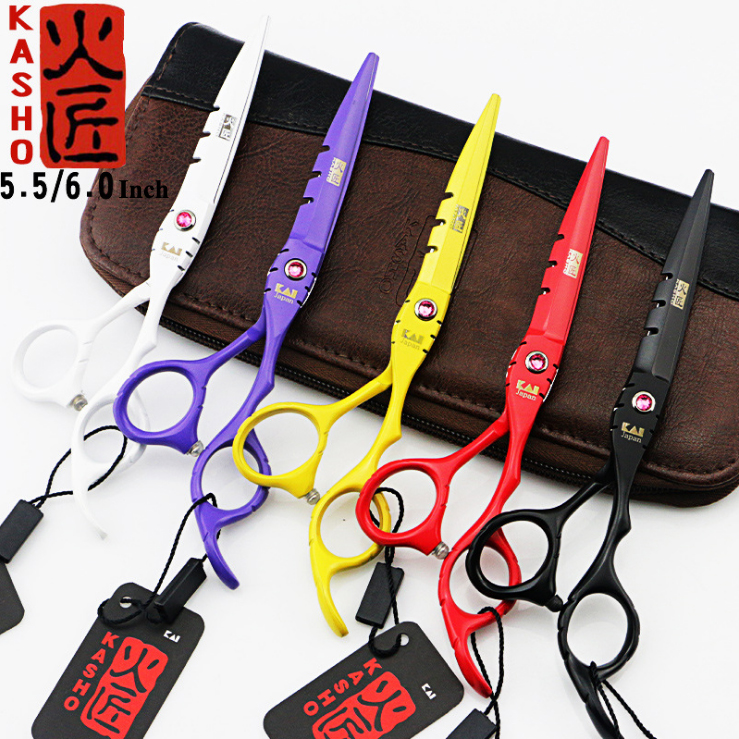 2017 Professional Kasho 5.5/6.0 Inch Hair Scissors Hairdressing Scissors Cutting Thinning Scissors Styling Tools Barber Shears professional bang hair clipper trimmer hair styling hairdressing tool bangs cutter scissors flat bang scissors